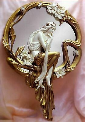 Graceful Nymph Poses On Art Nouveau Wall Mirror