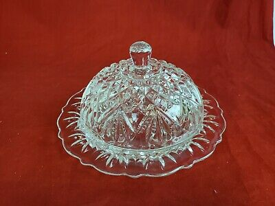 Vintage Anchor Hocking Pineapple Round Butter Dish Pressed Glass Domed GL8