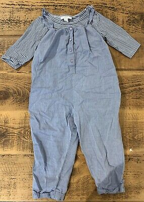 Girls Little White Company Blue Stripe T-shirt And Dungarees Set Size 2-3 Years