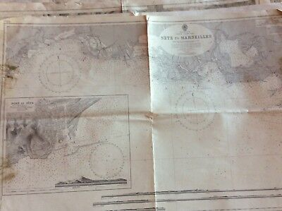 Vintage Nautical Chart Sete to Marsellis, 27 Aug 1894