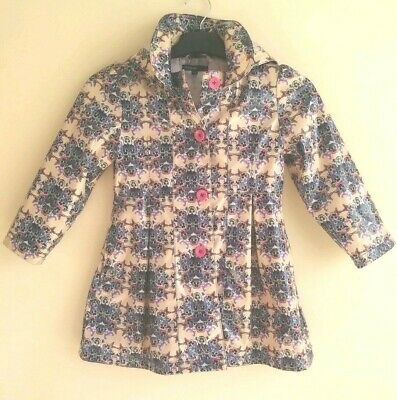 M&S Autograph Girl's Fully Lined Geometric Floral Hooded Raincoat ~ Age 4-5 Yrs