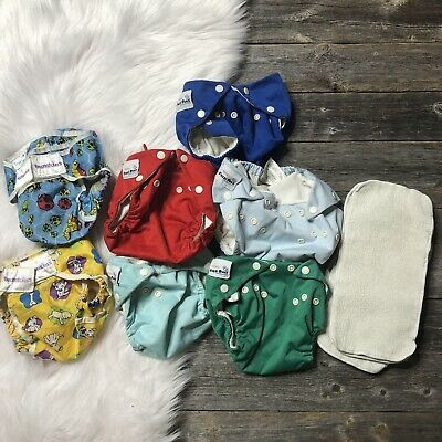 Cloth Diaper Size Small Lot (2 Covers, 5 AIOs, 4 Liners) FuzziBunz, Bumkins