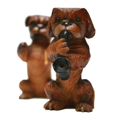 Pair Of 2 Hand Carved Wooden Dog Figurine Playing Instruments ANDRI Pekingese