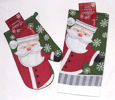 RED CHRISTMAS COOKIES SANTA CLAUS OVEN DRESS KITCHEN HANDMADE TOWEL 100/% COTTON
