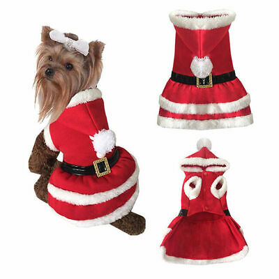 Lovely Dog Pet Santa Claus Puppy Christmas Clothes Apparel Costume Hoodie Dress