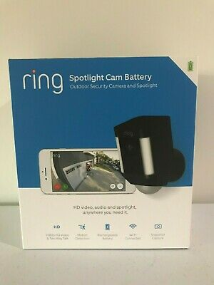 Ring Spotlight Cam Battery Outdoor Security Camera - NEW Factory Sealed BLACK