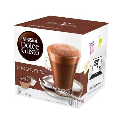 NESCAFE Dolce Gusto Chocoletto 8 Choc and 8 Milk Pods Capsules