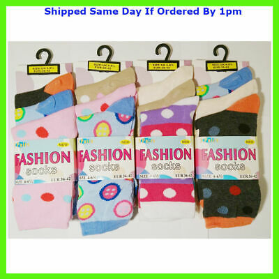 12 Pairs Girls Spots Dots Multi Colour Everyday Fun Socks Size 4-7 Smart Casual