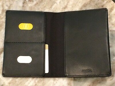NWT Fossil RFID Leather Passport Holder - BLACK or BROWN