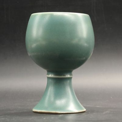 Chinese Old Marked Green Glazed Porcelain Highfoot Cup