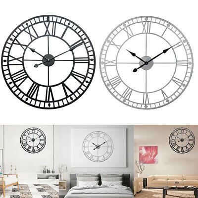 40Cm Roman Wall Clock Extra Large Numerals Skeleton Big Giant Open Face Round Uk