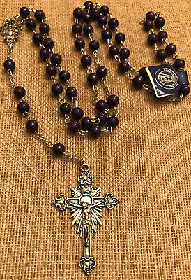 Vintage Purple Glass Beaded 5 Decade Rosary Silver Tone Crucifix And Center