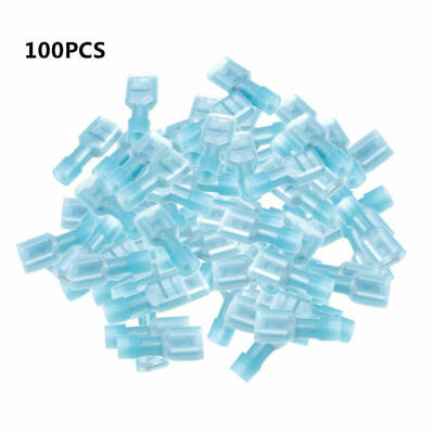 100X Fully Insulated Blue Female Electrical Wire Spade Crimp Connector Terminal