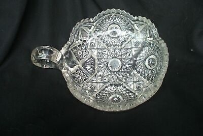 One Handled Pressed Glass Candy Dish Vintage Antique A23