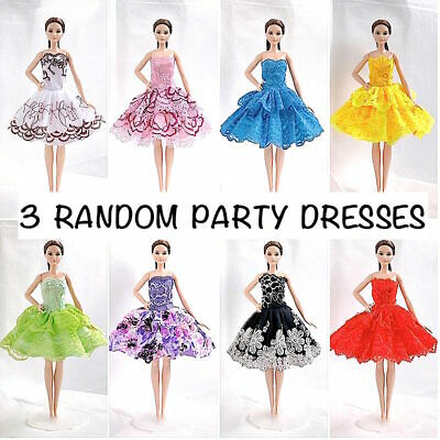 new barbie doll clothes clothing sets 3 Random short dresses summer evening gown