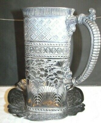 Aesthetic Pattern Water Jug+Stand Silver Plated Britannia Metal Tufts Boston USA
