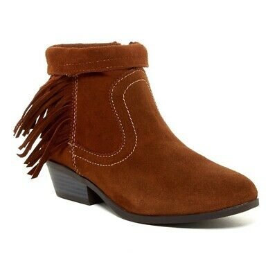 Sam Edelman Brown Whiskey Suede Heeled Fringe Ankle Bootie 5 Girls Leather