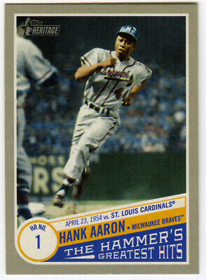 2019 Topps Heritage High Number Hank Aaron The Hammer's Greatest Hits Thgh #3