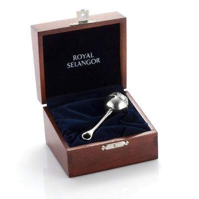 Royal Selangor Gift Box Collection Pewter Baby Rattle in Wooden Gift Box