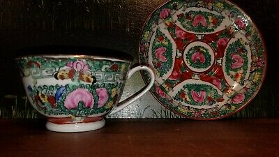 Antique Famille Rose Medallion Teacup/Marked with old Red Chinese Characters
