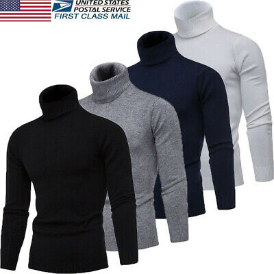 US Men's Thermal High Collar Turtle Neck Skivvy Long Sleeve Stretch Sweater NEW