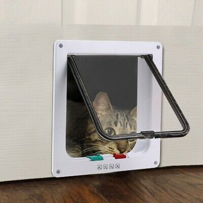 4 Ways MEDIUM SMALL LARGE Pet Cat Dog Lock Lockable Safe Flap Door Gate
