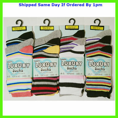 12 Pairs Girls All Stripe Multi Colour Everyday Fun Socks Size 4-7 Smart Casual