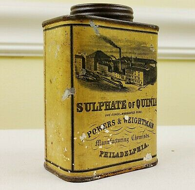 Powers Weightman Philadelphia Chemist Tin Industrial Factory VTG Advertising Can