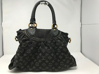 Authentic Louis Vuitton Black Denim Neo Cabby MM Satchel