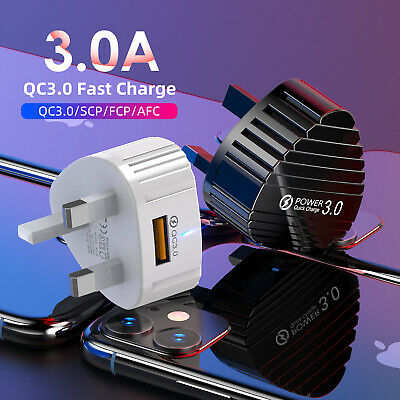 5V 3A QC 3.0 Fast Quick Charge 1 USB Port EU US Plug Travel Wall Charger Adapter