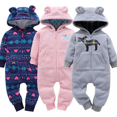 Print Tracksuit Outfits Kids Boys Girls Baby Hooded Romper Jumpsuit Clothes Set