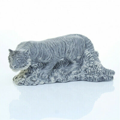 Amur Siberian Tiger Crouching Marble Figurine Unique Gift Manual Processing