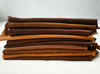Earth tone Cowhide Scraps - Upholstery offcuts 1-2 sq ft | FULL & TOP GRAIN