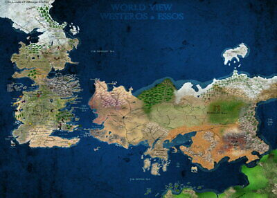 62140 Game Of Thrones World View Westeros & Essos Map Wall Print POSTER AU