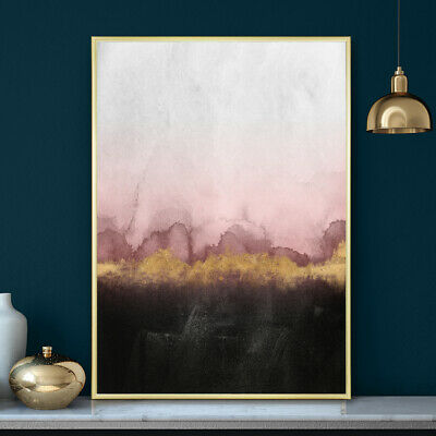 Wall Art Pink & Gold Painting Print Decor Bedroom Minimalist Watercolour Poster