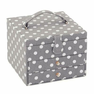 HobbyGift Large 2 Draw Sewing Basket - Grey Spot design storage