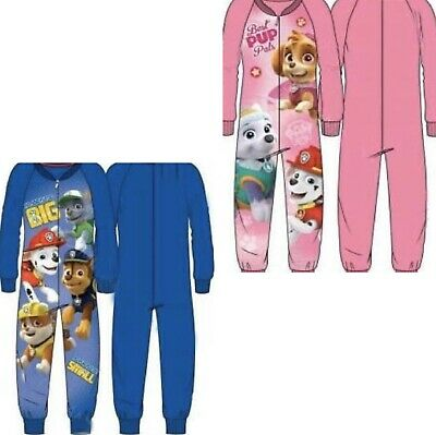 Boys Girl Paw Patrol Blue Pink All In One Pyjamas Long Sleeve Chase Marshall