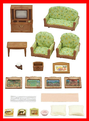 Sylvanian Families Living Room & TV Set Furniture Toy FREE AND FAST POSTAGE