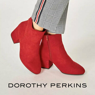 Dorothy Perkins Womens Red Ankle Boots Block Heel Wide Fit Shoes Size 3 4 5 6...