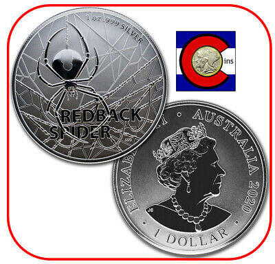 2020 Australia's Most Dangerous - Redback Spider 1oz Silver Coin in Mint Capsule