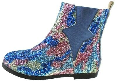 Girls UNICORN Shimmer Glitter Party Chelsea Boots Zip Size UK 9 - UK 3 EU 36