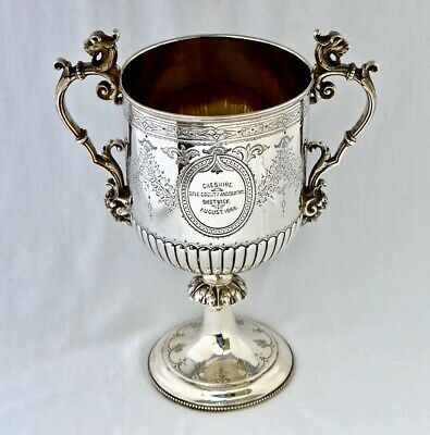Victorian Solid Silver Shooting Trophy. Cheshire Rifle Volunteers Shotwick 1866.