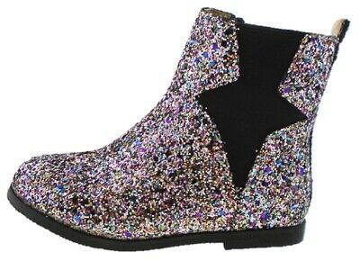 Girls RAINBOW Shimmer Glitter Party Chelsea Boots Zip Size UK 9 - UK 3 EU 36