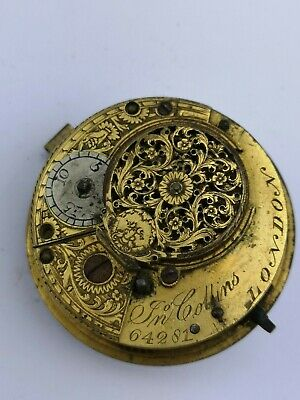Antique Verge Pocket Watch Movement by James Collins, London