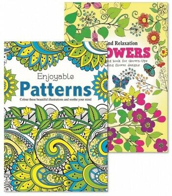 Martello Pattern/Flowers Adult Colouring Books, relaxation anti stress Pack of 2