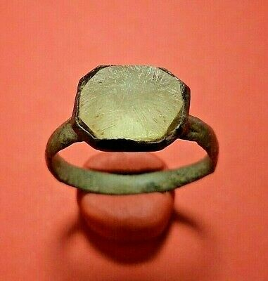 Medieval ancient bronze ring with a large white stone Roman