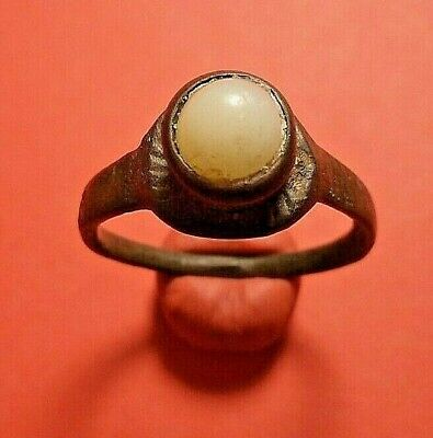 Medieval Ancient bronze Ring with white stone Roman
