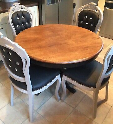 French Louis  Boudoir Style Table And Four  Diamante Studded Chairs Shabby Chic