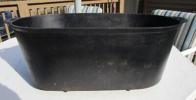 Antique Large Cast Iron Footed Oval Ham Boiler  Gate Marked Oval Roaster