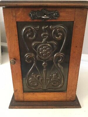 Antique Art Nouveau Oak Smokers Cabinet with Pipe Rack and key and three pipes